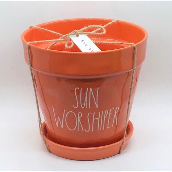 Rae Dunn Orange Sun Worshiper Planter